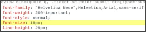 Ander voorbeeld Font size